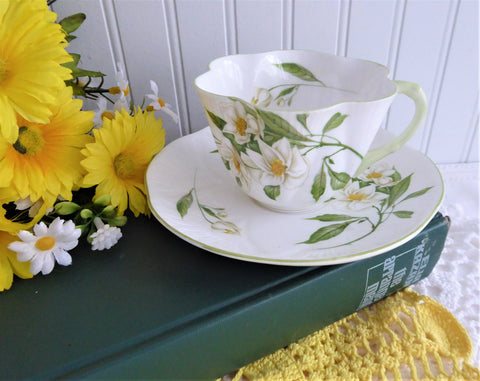 Shelley Dainty Syringa Cup and Saucer England 1960-66 Green Trim