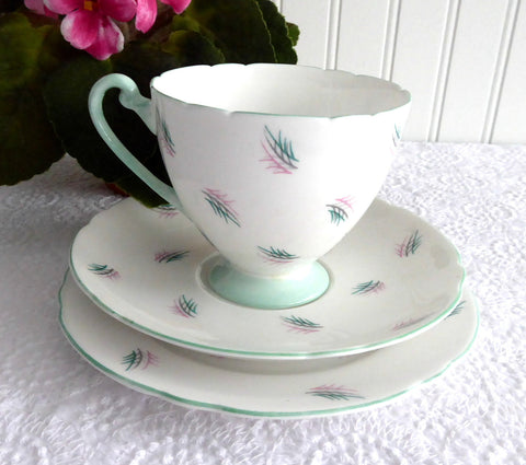 Shelley Teacup Trio Ripon Harmony Seafoam Green Pink Grey Retro Feathers England