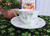 Shelley Shamrock Cup And Saucer Ludlow Shape English Bone China Green Trim 1960s