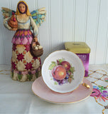 Shelley Pink Fruit Center Cup and Saucer Boston Shape Gold Trim 1960s