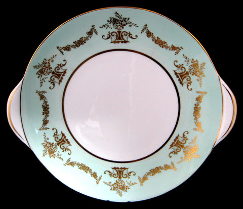 Shelley China Cake Plate Platter Green Gold Overlay 1960s Mid Century