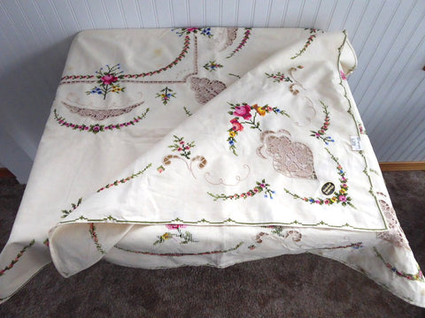 Swiss Embroidered Tablecloth 1960s Tea Cloth Bridge Cloth With Tags Unused