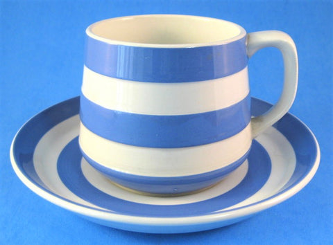 Cup And Saucer Cornishware T G Green Blue and White Stripes 1960s Judith Onions