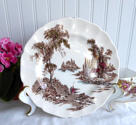 Johnson Brothers The Old Mill Salad Plate English Made 1960s Brown Transferware