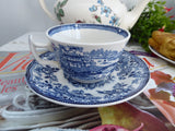 Tonquin Blue Transferware Cup And Saucer 1960s Ironstone Royal Staffordshire Clarice Cliff
