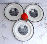 Salad Plates 3 Dessert Wedgwood Lugano Black Transfer 1960s Afternoon Tea