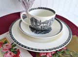 Wedgwood Lugano Black Transferware Cup And Saucer With Plate 1960s Teacup Trio