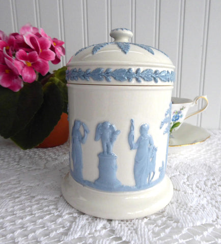 Wedgwood Queen's Ware Cylinder Box Tea Caddy 1960s Blue On White Sacrifice Figures
