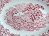Ironstone Platter Woodland Pink Transferware Red Transfer E Wedgwood 1960s Oval