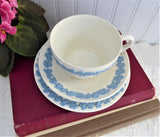 Wedgwood Queens Ware Teacup Trio Blue On White Grapes 1960s Queens Ware