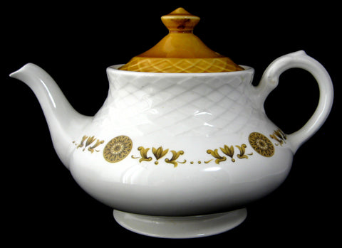 Teapot E Wedgwood Gold Medallion Retro Tea Pot Harvest Gold English 1960s As Is
