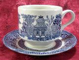 Cup And Saucer Blue Willow Blue Transferware English Royal Wessex 1950s