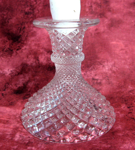 Westmoreland English Hobnail Candleholder Clear Single Light Candle Holder 1960s USA