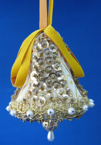 Vintage Beaded Ornament Gold And White Bell Hand Made Mid Century 1960s