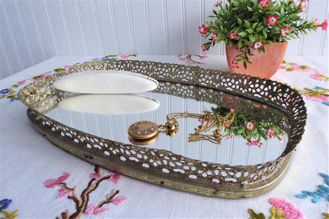Vintage Mirrored Tray Vanity Bar Tray Filigree Tray 1960s Perfume Tray Powder Room