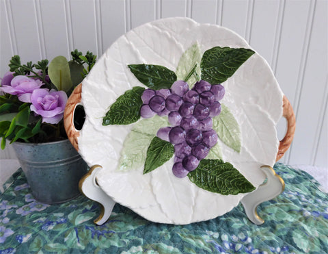 Embossed Ceramic Cake Plate Platter Serving 1960s Purple Grapes Raised Hand Painted