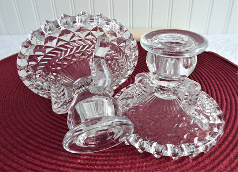Candleholders Pair Anchor Herringbone 1950s Depression Glass Tea Table Buffet