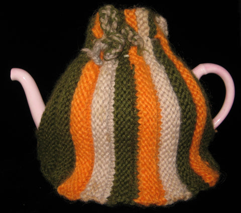 Knitted English Tea Cozy Retro Orange Olive Green Tan Cosy Stretchy 1950s Teapot Warmer