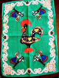 Tea Towel Retro Rooster Portuguese Dancers Green Red 1960s Dish Towel
