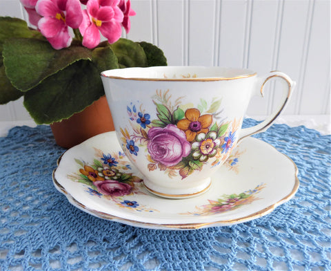 Pretty Floral Bouquet Cup And Saucer Vintage English 1960s Pink Rose