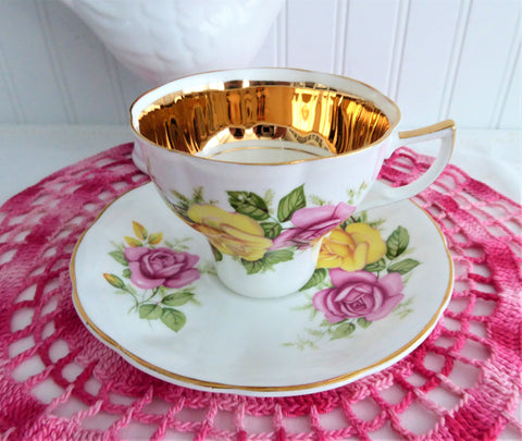 Luxe Gold Band Pink And Yellow Roses Cup And Saucer 1960s Jason England