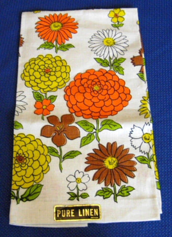Tea Towel Retro Floral Linen Dish Towel Mid Century Colors Cool 1960s