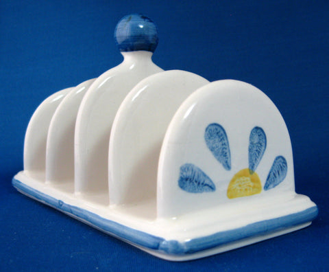 Toast Rack Daisy Retro 1960s Ceramic England 4 Slice Blue Yellow