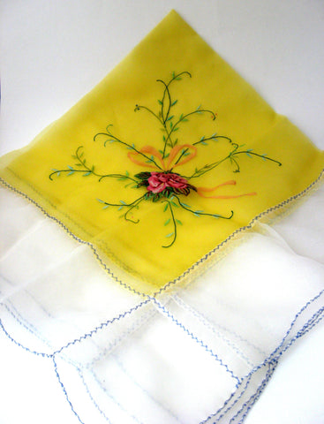 Table Scarf Embroidered Roses 1950s Organdy Petit Point 28 Inch Square Topper Swiss