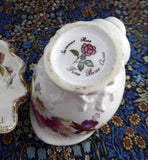 Unusual Shell Shape Cream And Sugar 1960s English Bone China Floral Brush Gold