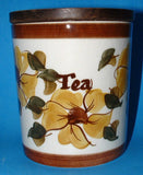 Tea Caddy Retro Ceramic And Wood England 1960s Mid Century Colors