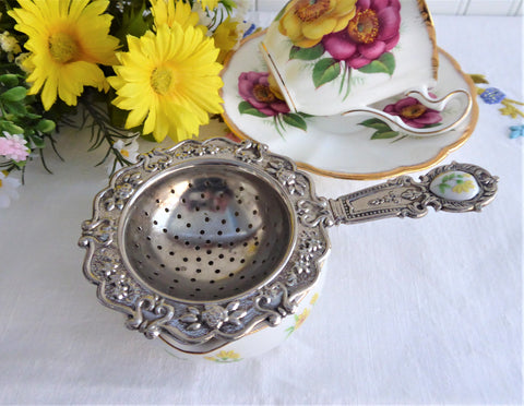 Yellow Daisy Tea Strainer And Bowl Porcelain Silverplate 1970s Tea Leaf Strainer