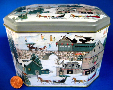 Tea Tin Winter Scene Village Christmas Grandma Moses Like 1960s Canister