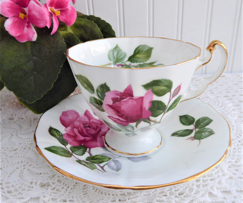 Adderley Monique English Cup And Saucer Vintage 1960s Pink Rose