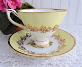 Yellow Bands Pink Rose Teacup Clare English Gold Overlay 1960s