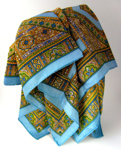 Scarf Paisley Turquoise Tile Design Acetate 1960s Fashion Square Retro Chic 28 Inch