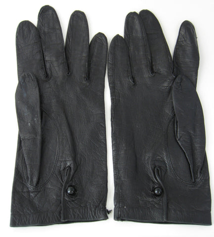 Vintage Italian Soft Kid Leather Gloves 1960s Soft Black For Macys Glass Button Italy