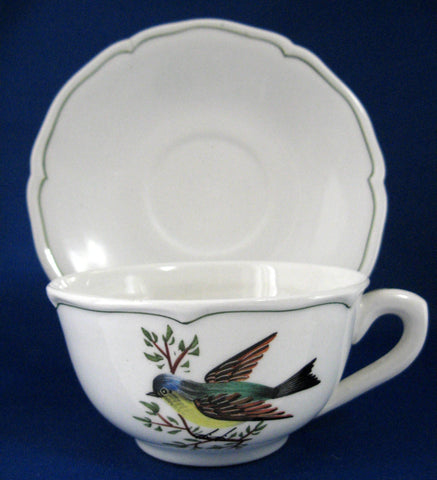 Bird Cup And Saucer Hand Painted 1961 For Bonwit Teller 1960s Breakfast Size