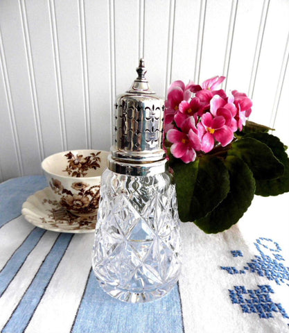 Sugar Shaker Caster Lead Crystal Gothic Sterling Top Muffinneer English Hallmarked 1962