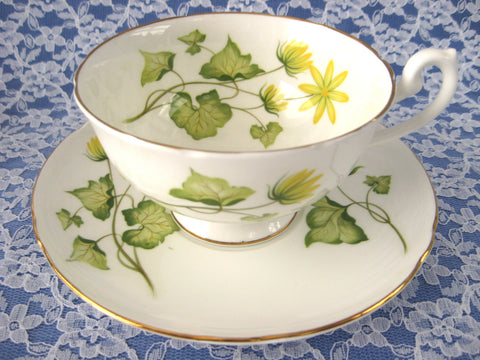 Shelley China England Celandine Cup And Saucer 1963 Lincoln Shape Yellow Wildflowers