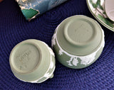 Wedgwood Green Jasper Sugar And Creamer Icarus Aesculapius 1963 Green And White