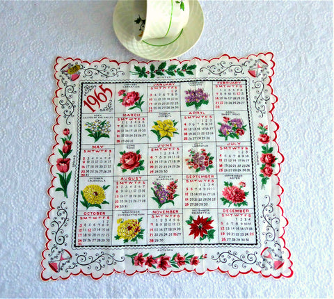 Calendar Handkerchief 1965 Original Sticker Monthly Flowers Dates Hanky