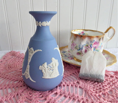 Wedgwood Blue and White Jasperware Vase Cupid Aurora And Chariot Jasper 1969