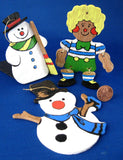 Ornaments Hand Painted Wood 2 Snowmen And Raggedy Andy 1970s Hand Made