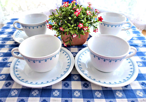 Snowflake Garland Cups and Saucers 4 Corelle 1970s Blue And White Milk Glass