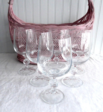 Bohemia Crystal 6 Water Wine Glasses Cut Lead Crystal Claudia Faceted Ball Knop 1970s