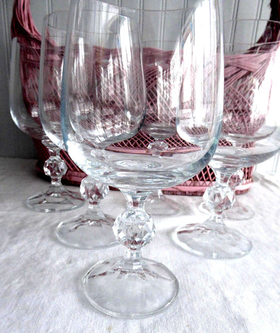 Bohemia Crystal 6 Water Goblets Glasses Lead Crystal Claudia Faceted Ball Knop 1970s