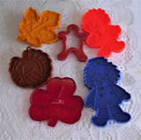 Cookie Cutters 6 Plastic Turkey Leaf Gingerbread Folks Shamrock 1950-1980s Assorted