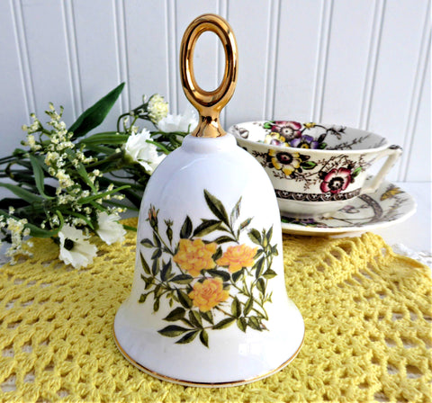 Yellow Shrub Rose Hostess Bell England Baby Gold Star 1970s Bone China Danbury