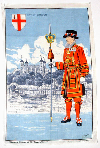 Tea Towel Beefeater Tower Of London Vintage Linen Irish Linen 1970s