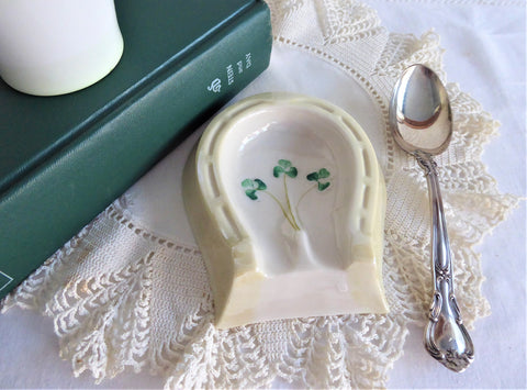 Belleek Shamrock Lucky Horseshoe Spoon Rest 1970s Luster Hand Painted Horses Hoof